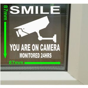 1 x CCTV Smile Closed Circuit Television Stickers for Windows-87mmx87mm-Security Warning Signs for House, Flat, Business, Property-Self Adhesive Vinyl